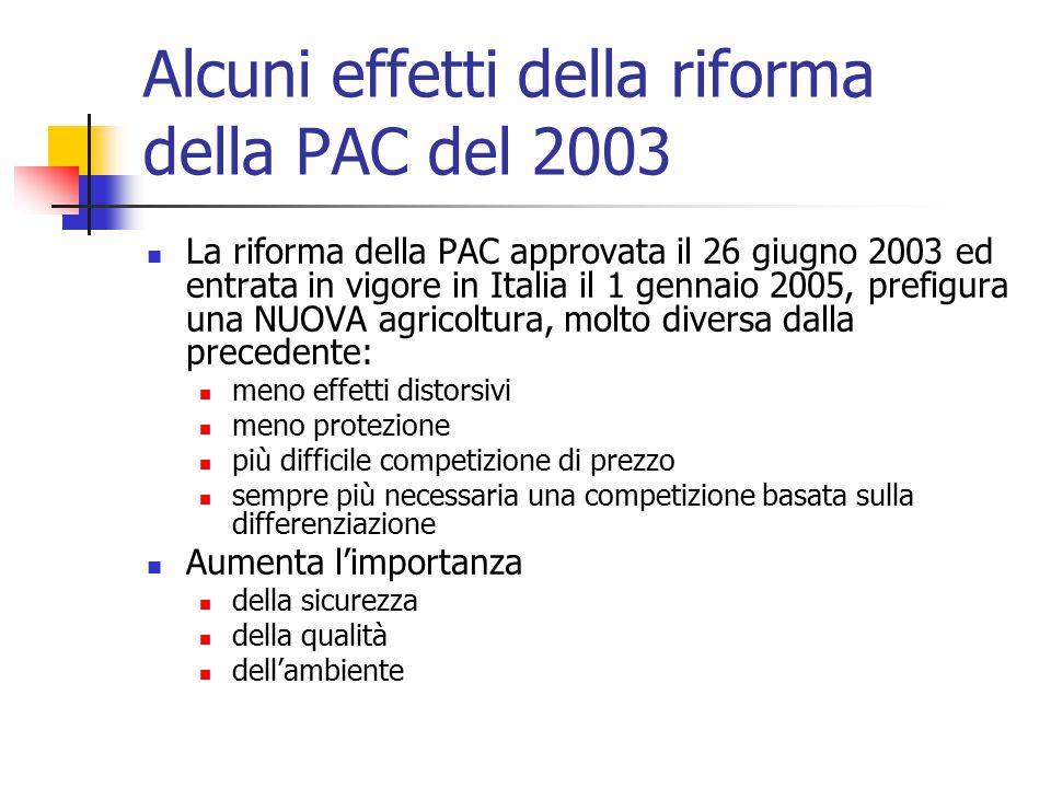 Alcuni effetti della riforma della PAC del 2003 La riforma della PAC approvata il 26 giugno 2003 ed entrata in vigore in Italia il 1 gennaio 2005, prefigura una NUOVA agricoltura, molto diversa dalla precedente: meno effetti distorsivi meno protezione più difficile competizione di prezzo sempre più necessaria una competizione basata sulla differenziazione Aumenta l'importanza della sicurezza della qualità dell'ambiente