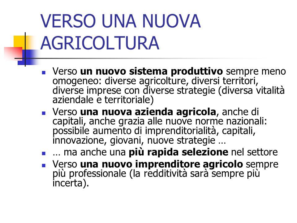 VERSO UNA NUOVA AGRICOLTURA Verso un nuovo sistema produttivo sempre meno omogeneo: diverse agricolture, diversi territori, diverse imprese con diverse strategie (diversa vitalità aziendale e territoriale) Verso una nuova azienda agricola, anche di capitali, anche grazia alle nuove norme nazionali: possibile aumento di imprenditorialità, capitali, innovazione, giovani, nuove strategie … … ma anche una più rapida selezione nel settore Verso una nuovo imprenditore agricolo sempre più professionale (la redditività sarà sempre più incerta).