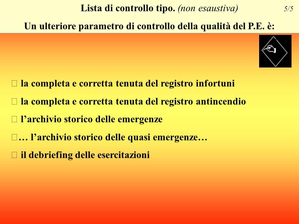 Lista di controllo tipo. (non esaustiva) 4/5 Il Piano di emergenza si basa sulle determinazioni del DVR e individua chiaramente: ※ le modalità formati