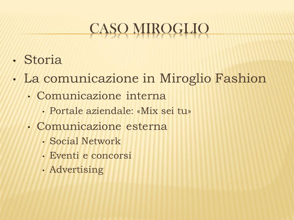 Storia La comunicazione in Miroglio Fashion Comunicazione interna Portale aziendale: «Mix sei tu» Comunicazione esterna Social Network Eventi e concor