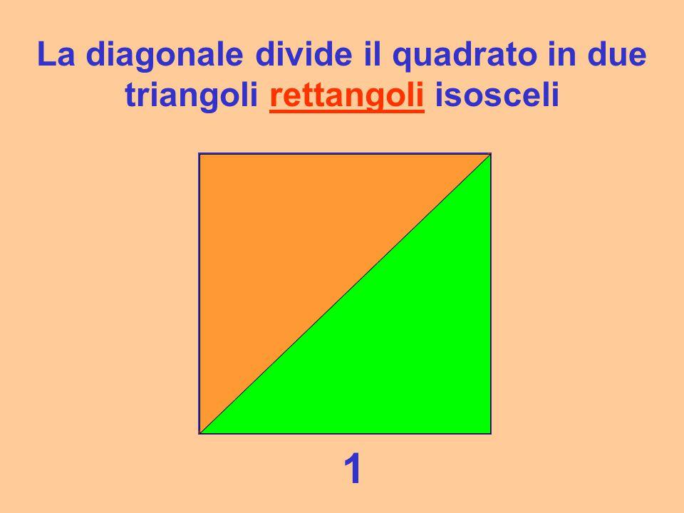 La diagonale divide il quadrato in due triangoli rettangoli isosceli 1