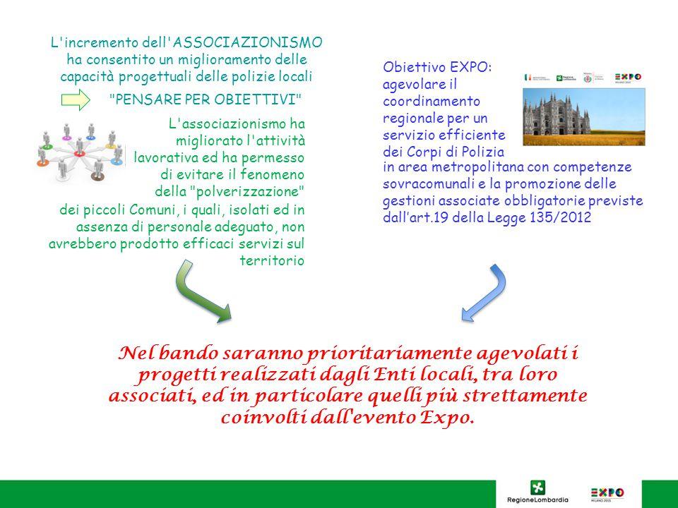 BENEFICIARI TIPOLOGIA A: Comuni e Unioni della provincia di Milano e la Provincia di Milano, tra loro associati, in quanto interessati dall evento EXPO - cofinanziamento pari al 70% TIPOLOGIA B: Comuni sotto i 5.000 abitanti, associati per effetto della Legge 135/2012 - cofinanziamento pari al 70% TIPOLOGIA C: Province, Comuni e Unioni al di fuori dell area interessata da EXPO, che presentano il progetto in associazione con altri Enti locali - cofinanziamento pari al 60% TIPOLOGIA D: Province, Comuni (esclusi quelli sotto i 5.000 abitanti) e Unioni che presentano il progetto in forma singola (anche se in provincia di Milano e pertanto interessati all evento EXPO) - cofinanziamento pari al 50%