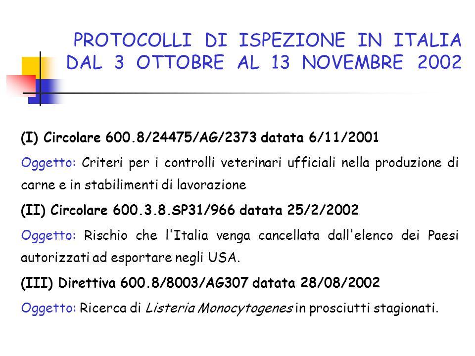 PROTOCOLLI DI ISPEZIONE IN ITALIA DAL 3 OTTOBRE AL 13 NOVEMBRE 2002 (I) Circolare 600.8/24475/AG/2373 datata 6/11/2001 Oggetto: Criteri per i controll