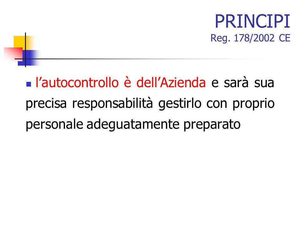 PRINCIPI Reg. 178/2002 CE l'autocontrollo è dell'Azienda e sarà sua precisa responsabilità gestirlo con proprio personale adeguatamente preparato
