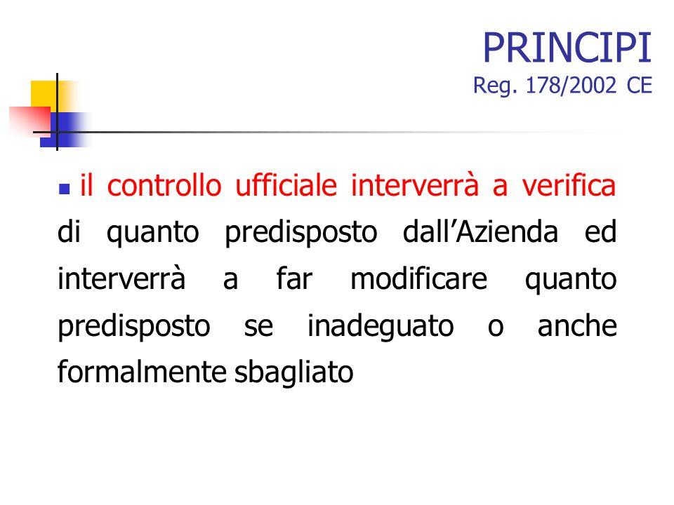 PRINCIPI Reg. 178/2002 CE il controllo ufficiale interverrà a verifica di quanto predisposto dall'Azienda ed interverrà a far modificare quanto predis