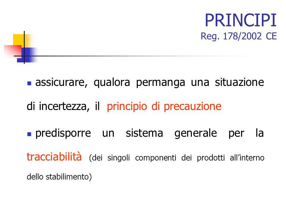 PRINCIPI Reg. 178/2002 CE assicurare, qualora permanga una situazione di incertezza, il principio di precauzione predisporre un sistema generale per l