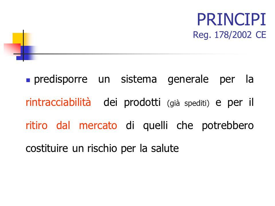 PRINCIPI Reg. 178/2002 CE predisporre un sistema generale per la rintracciabilità dei prodotti (già spediti) e per il ritiro dal mercato di quelli che