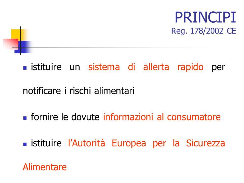 PRINCIPI Reg. 178/2002 CE istituire un sistema di allerta rapido per notificare i rischi alimentari fornire le dovute informazioni al consumatore isti