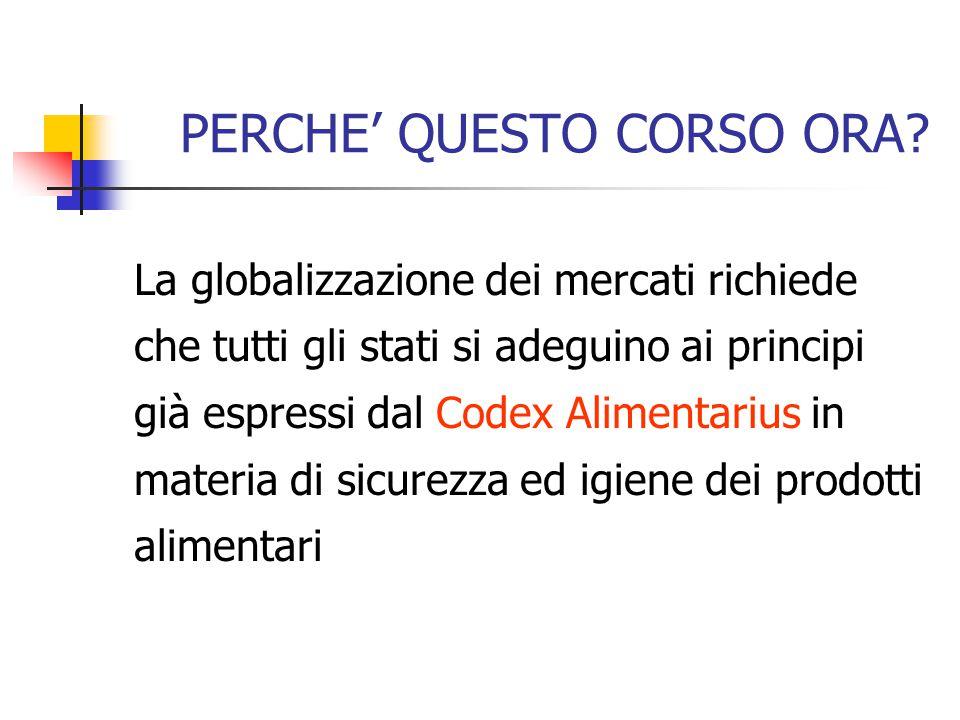 PERCHE' QUESTO CORSO ORA? La globalizzazione dei mercati richiede che tutti gli stati si adeguino ai principi già espressi dal Codex Alimentarius in m