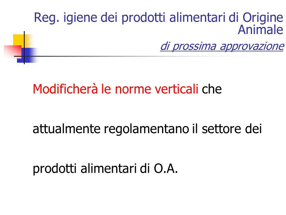 Reg. igiene dei prodotti alimentari di Origine Animale di prossima approvazione Modificherà le norme verticali che attualmente regolamentano il settor
