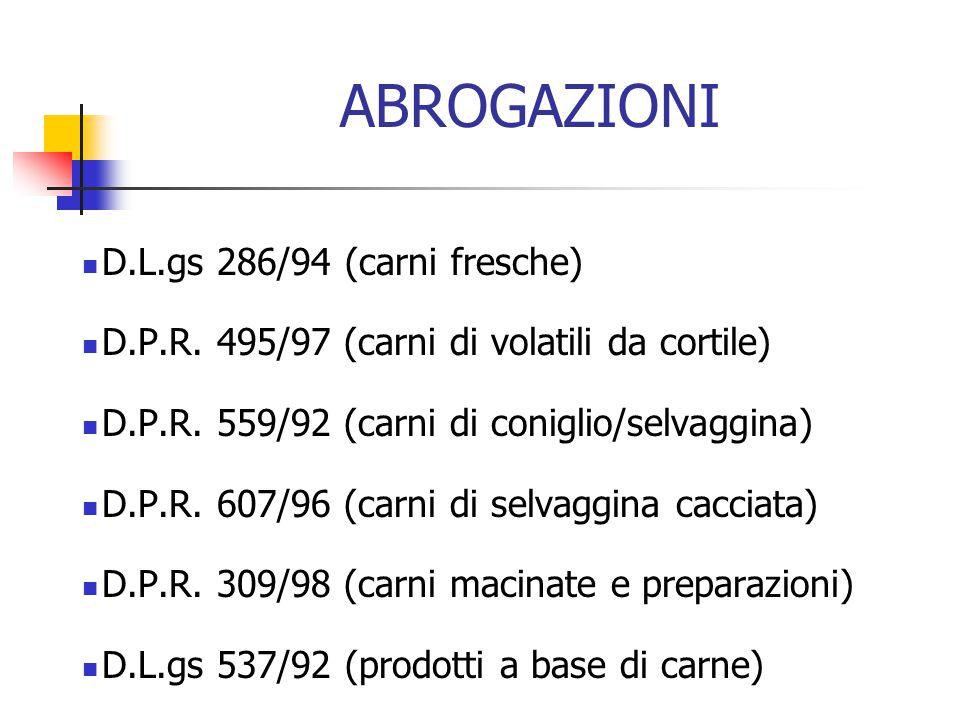 ABROGAZIONI D.L.gs 286/94 (carni fresche) D.P.R. 495/97 (carni di volatili da cortile) D.P.R. 559/92 (carni di coniglio/selvaggina) D.P.R. 607/96 (car
