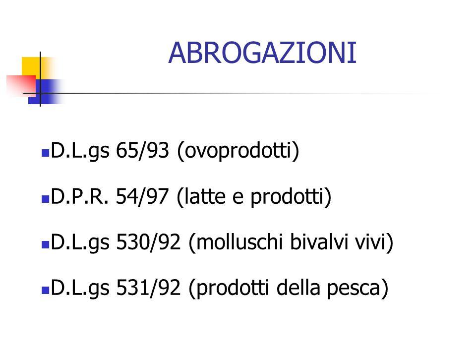 ABROGAZIONI D.L.gs 65/93 (ovoprodotti) D.P.R. 54/97 (latte e prodotti) D.L.gs 530/92 (molluschi bivalvi vivi) D.L.gs 531/92 (prodotti della pesca)