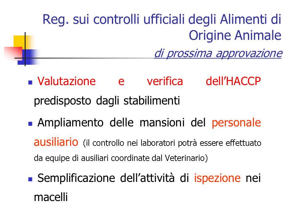 Reg. sui controlli ufficiali degli Alimenti di Origine Animale di prossima approvazione Valutazione e verifica dell'HACCP predisposto dagli stabilimen