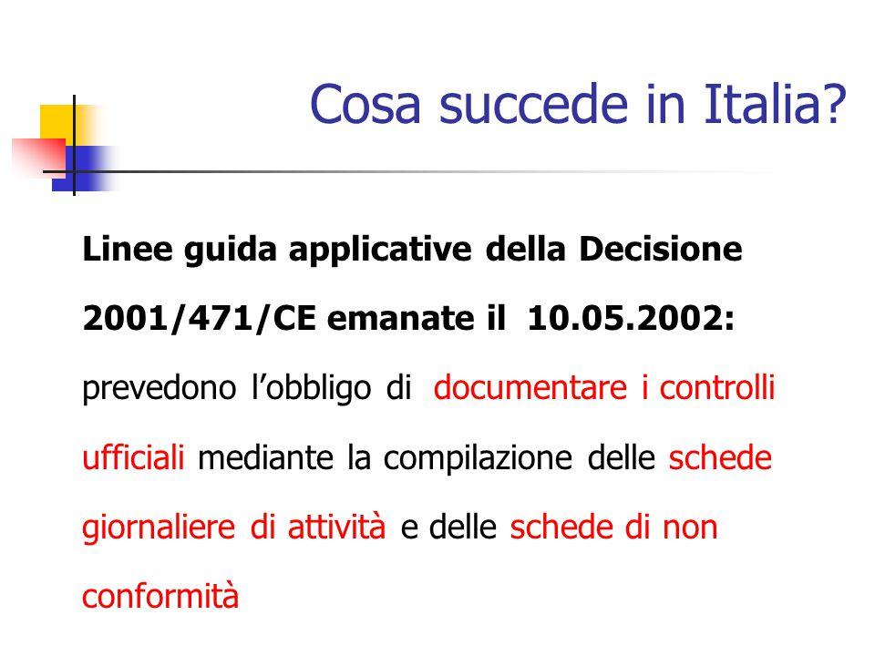 Cosa succede in Italia? Linee guida applicative della Decisione 2001/471/CE emanate il 10.05.2002: prevedono l'obbligo di documentare i controlli uffi