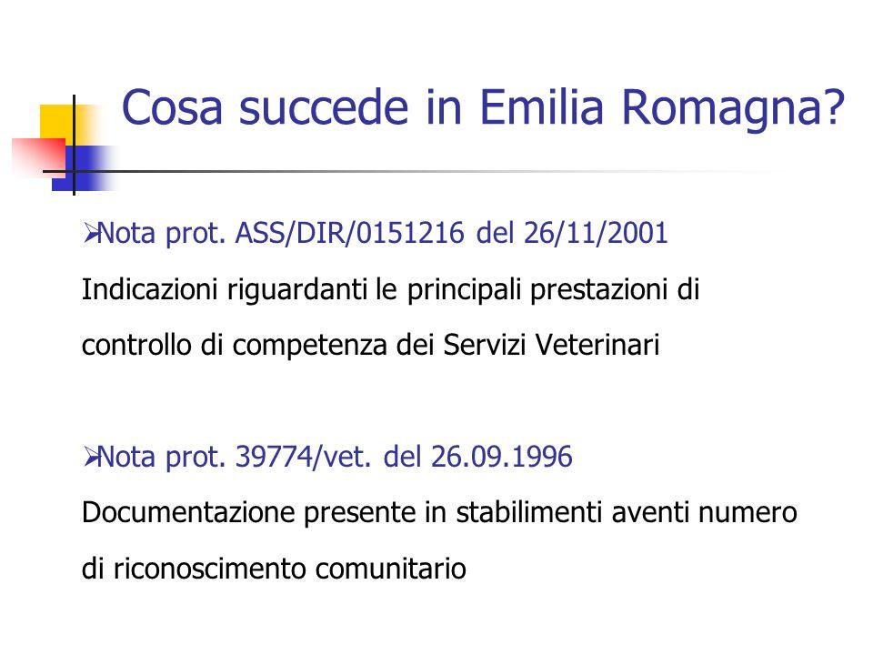 Cosa succede in Emilia Romagna?  Nota prot. ASS/DIR/0151216 del 26/11/2001 Indicazioni riguardanti le principali prestazioni di controllo di competen
