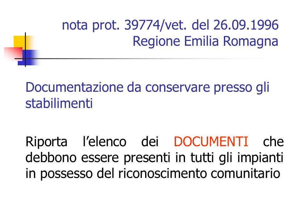 Documentazione da conservare presso gli stabilimenti Riporta l'elenco dei DOCUMENTI che debbono essere presenti in tutti gli impianti in possesso del