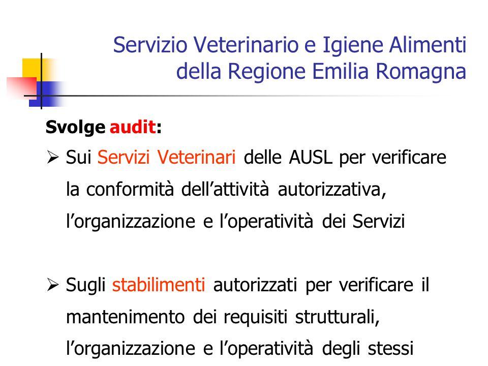 Servizio Veterinario e Igiene Alimenti della Regione Emilia Romagna Svolge audit:  Sui Servizi Veterinari delle AUSL per verificare la conformità del