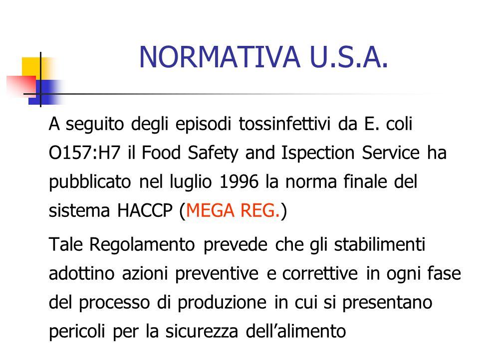 NORMATIVA U.S.A. A seguito degli episodi tossinfettivi da E. coli O157:H7 il Food Safety and Ispection Service ha pubblicato nel luglio 1996 la norma