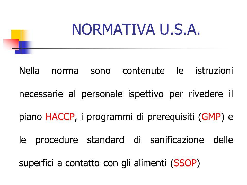 NORMATIVA U.S.A. Nella norma sono contenute le istruzioni necessarie al personale ispettivo per rivedere il piano HACCP, i programmi di prerequisiti (