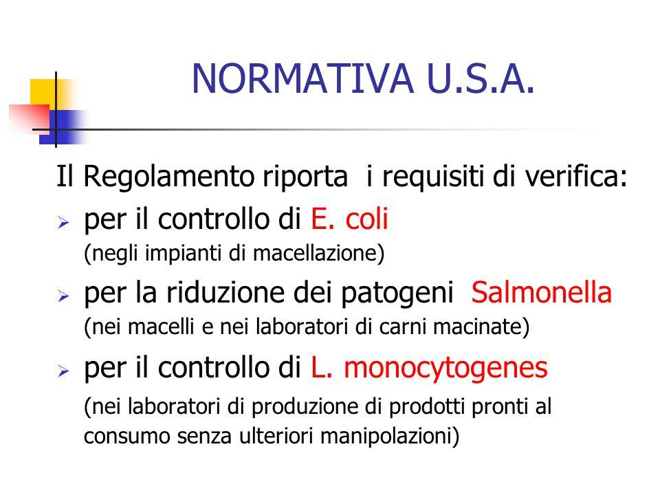 NORMATIVA U.S.A. Il Regolamento riporta i requisiti di verifica:  per il controllo di E. coli (negli impianti di macellazione)  per la riduzione dei