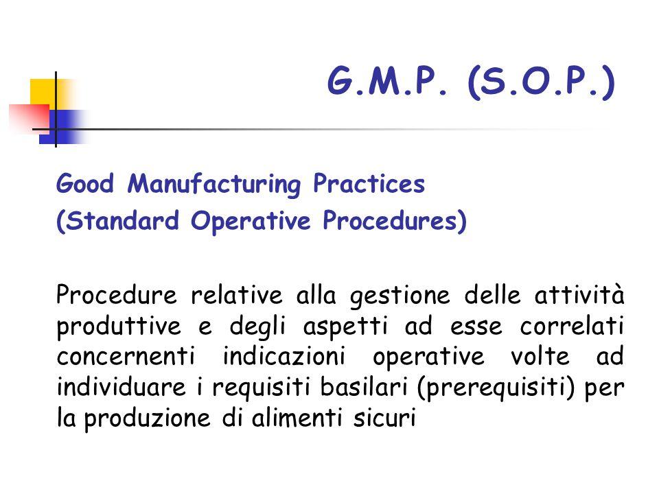 Good Manufacturing Practices (Standard Operative Procedures) Procedure relative alla gestione delle attività produttive e degli aspetti ad esse correl