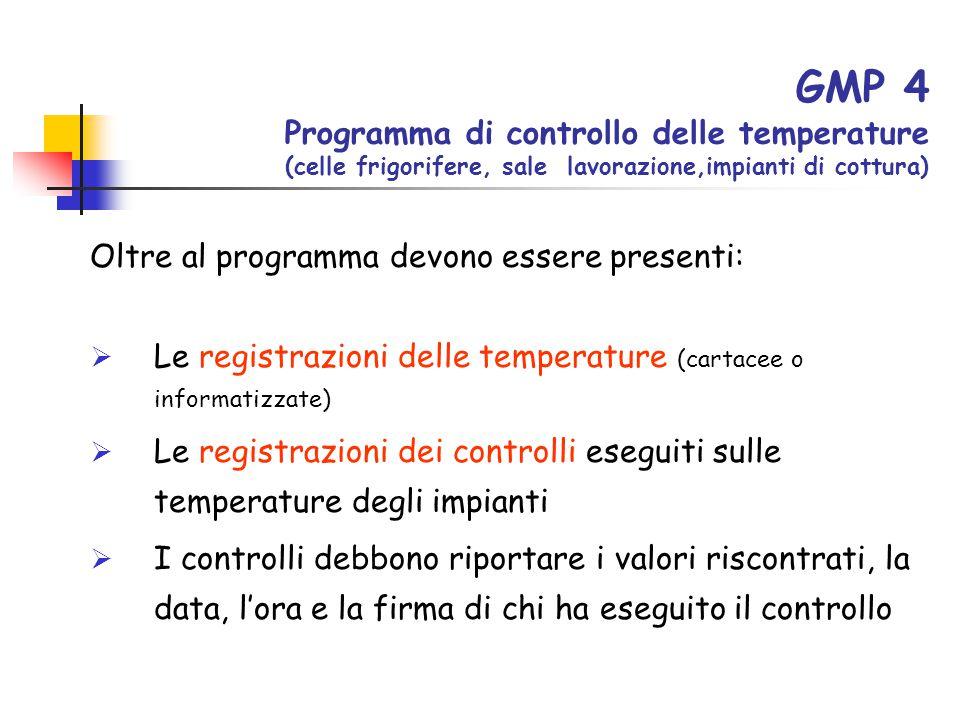 GMP 4 Programma di controllo delle temperature (celle frigorifere, sale lavorazione,impianti di cottura) Oltre al programma devono essere presenti: 