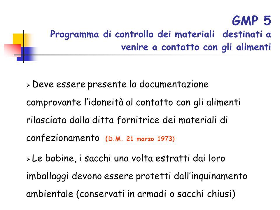 GMP 5 Programma di controllo dei materiali destinati a venire a contatto con gli alimenti  Deve essere presente la documentazione comprovante l'idone