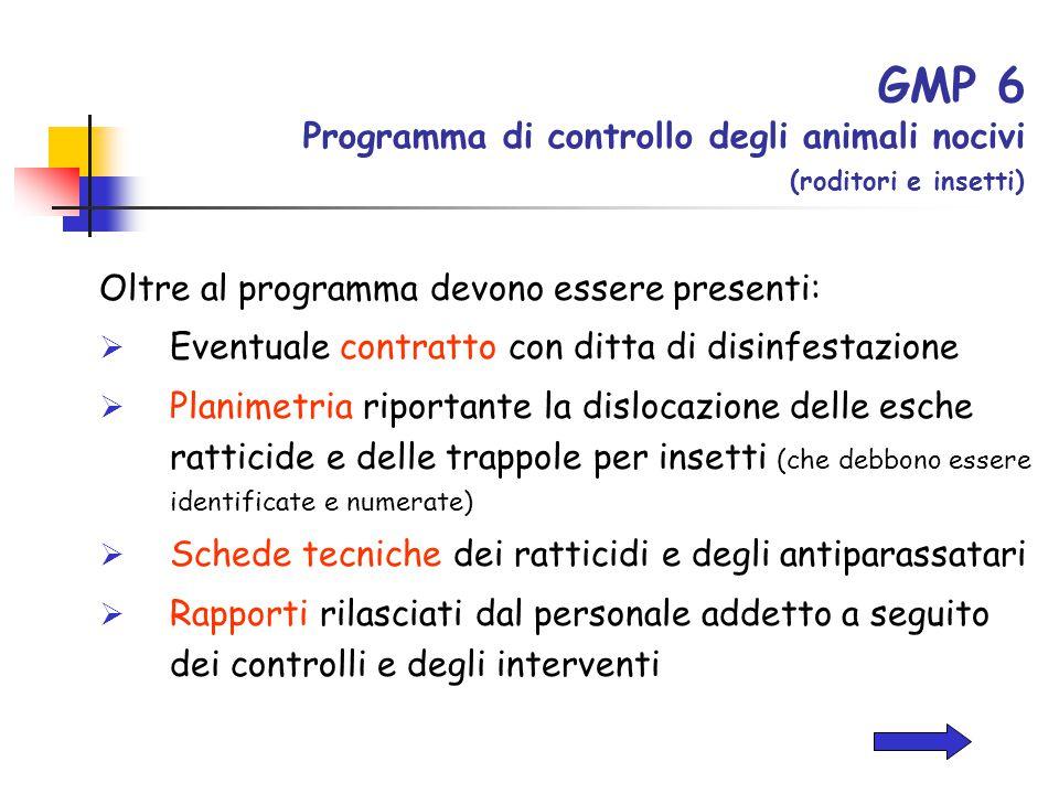 GMP 6 Programma di controllo degli animali nocivi (roditori e insetti) Oltre al programma devono essere presenti:  Eventuale contratto con ditta di d