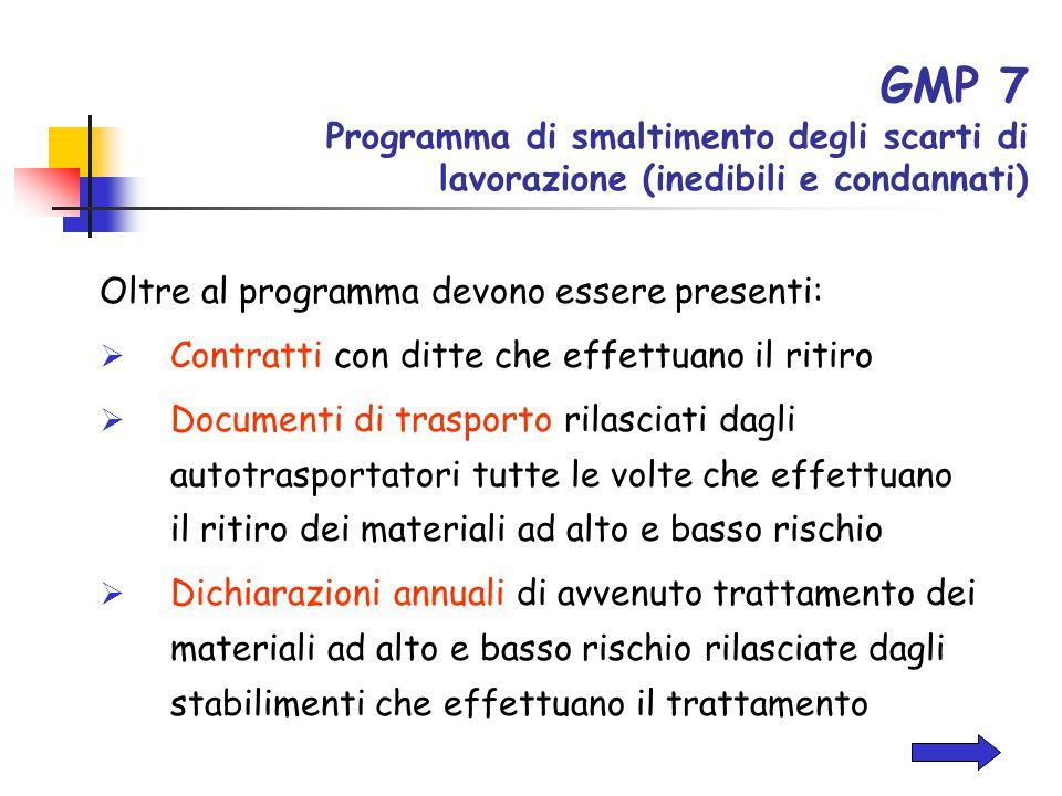 GMP 7 Programma di smaltimento degli scarti di lavorazione (inedibili e condannati) Oltre al programma devono essere presenti:  Contratti con ditte c