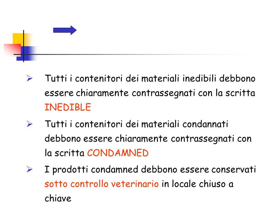  Tutti i contenitori dei materiali inedibili debbono essere chiaramente contrassegnati con la scritta INEDIBLE  Tutti i contenitori dei materiali co