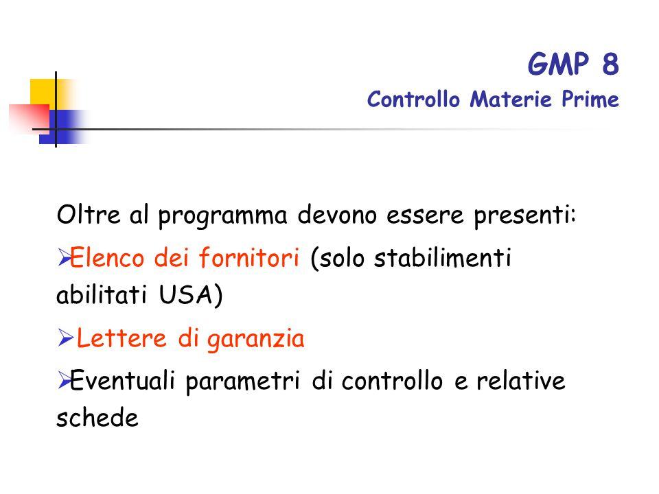 GMP 8 Controllo Materie Prime Oltre al programma devono essere presenti:  Elenco dei fornitori (solo stabilimenti abilitati USA)  Lettere di garanzi