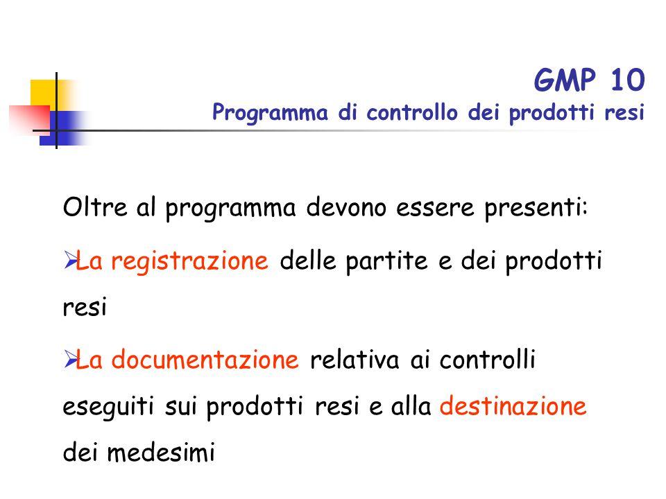 GMP 10 Programma di controllo dei prodotti resi Oltre al programma devono essere presenti:  La registrazione delle partite e dei prodotti resi  La d