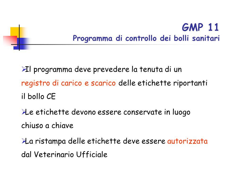 GMP 11 Programma di controllo dei bolli sanitari  Il programma deve prevedere la tenuta di un registro di carico e scarico delle etichette riportanti