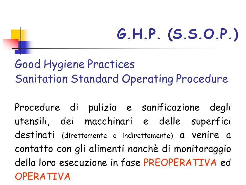 G.H.P. (S.S.O.P.) Good Hygiene Practices Sanitation Standard Operating Procedure Procedure di pulizia e sanificazione degli utensili, dei macchinari e