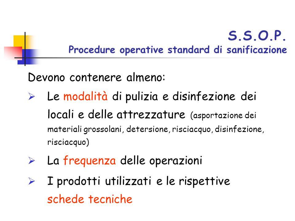S.S.O.P. Procedure operative standard di sanificazione Devono contenere almeno:  Le modalità di pulizia e disinfezione dei locali e delle attrezzatur