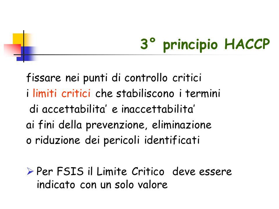 3° principio HACCP fissare nei punti di controllo critici i limiti critici che stabiliscono i termini di accettabilita' e inaccettabilita' ai fini del