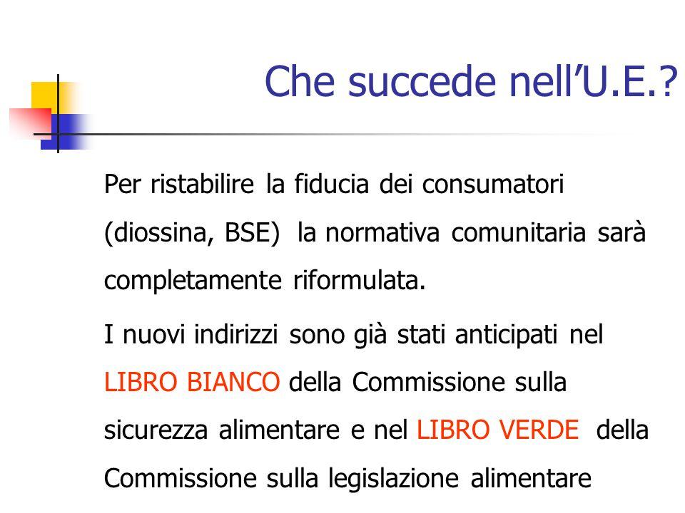 Che succede nell'U.E.? Per ristabilire la fiducia dei consumatori (diossina, BSE) la normativa comunitaria sarà completamente riformulata. I nuovi ind