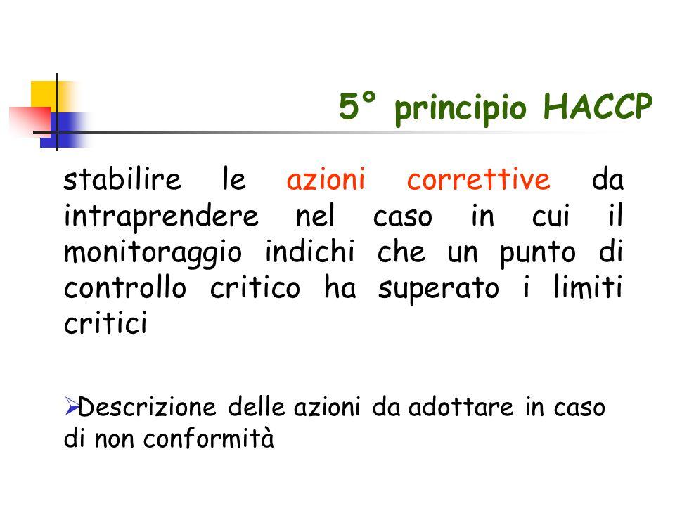 5° principio HACCP stabilire le azioni correttive da intraprendere nel caso in cui il monitoraggio indichi che un punto di controllo critico ha supera