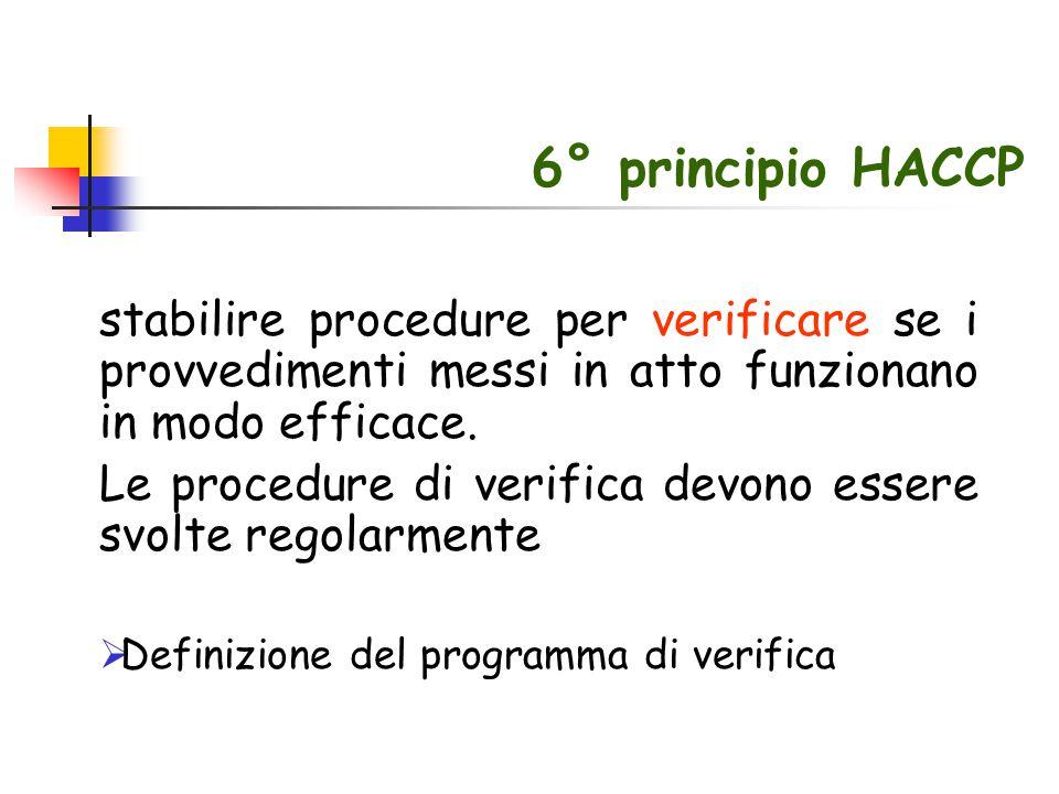 6° principio HACCP stabilire procedure per verificare se i provvedimenti messi in atto funzionano in modo efficace. Le procedure di verifica devono es