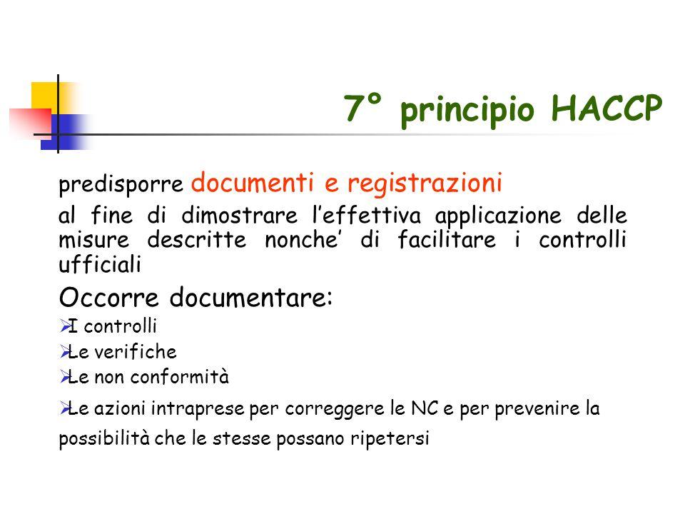 7° principio HACCP predisporre documenti e registrazioni al fine di dimostrare l'effettiva applicazione delle misure descritte nonche' di facilitare i