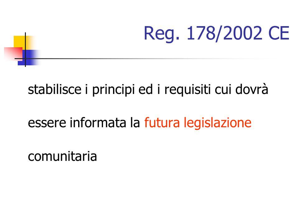 Reg. 178/2002 CE stabilisce i principi ed i requisiti cui dovrà essere informata la futura legislazione comunitaria