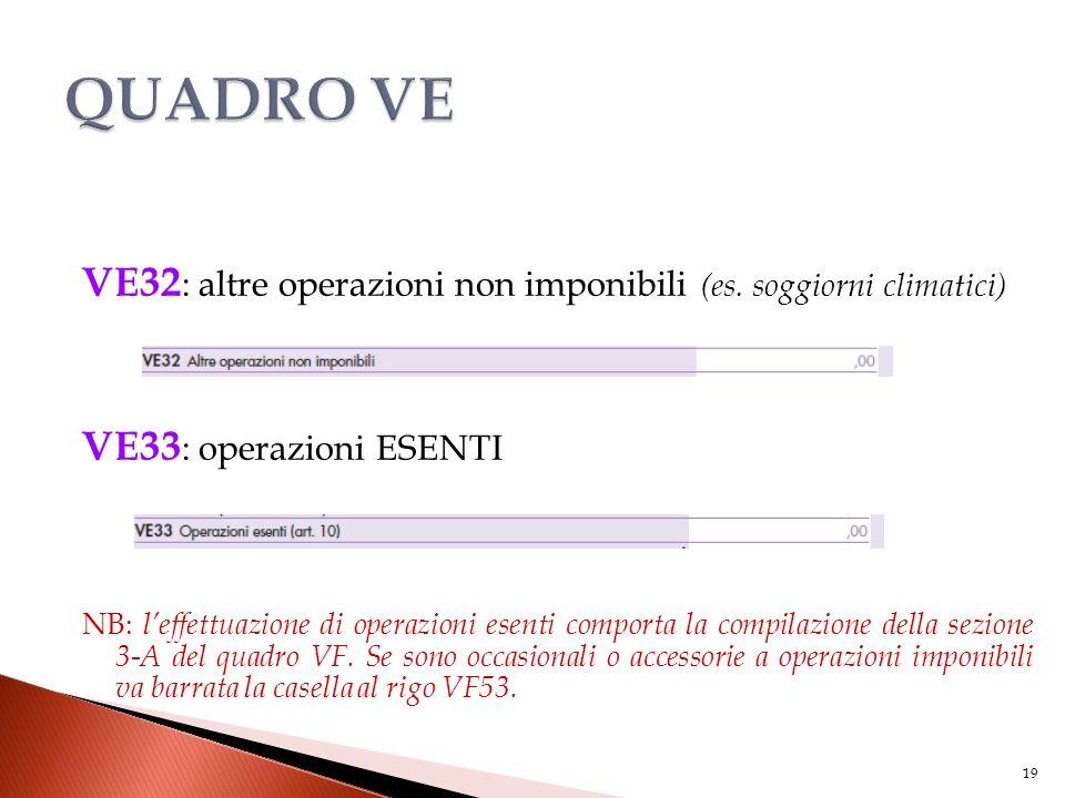 VE32 : altre operazioni non imponibili (es. soggiorni climatici) VE33 : operazioni ESENTI NB: l'effettuazione di operazioni esenti comporta la compila
