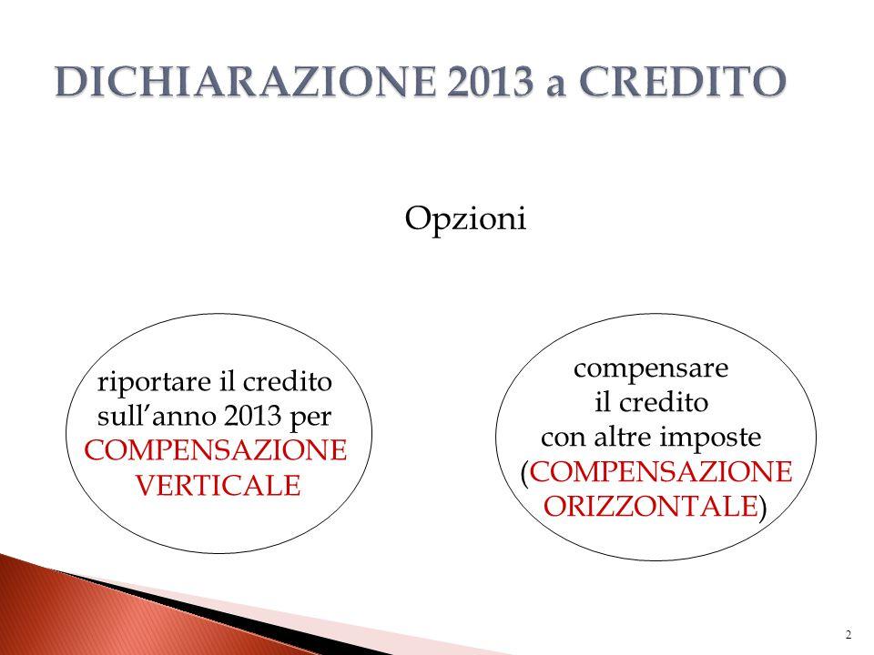 Opzioni 2 riportare il credito sull'anno 2013 per COMPENSAZIONE VERTICALE compensare il credito con altre imposte (COMPENSAZIONE ORIZZONTALE)