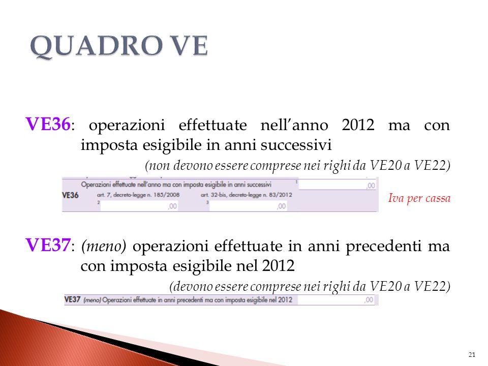 VE36 : operazioni effettuate nell'anno 2012 ma con imposta esigibile in anni successivi (non devono essere comprese nei righi da VE20 a VE22) Iva per