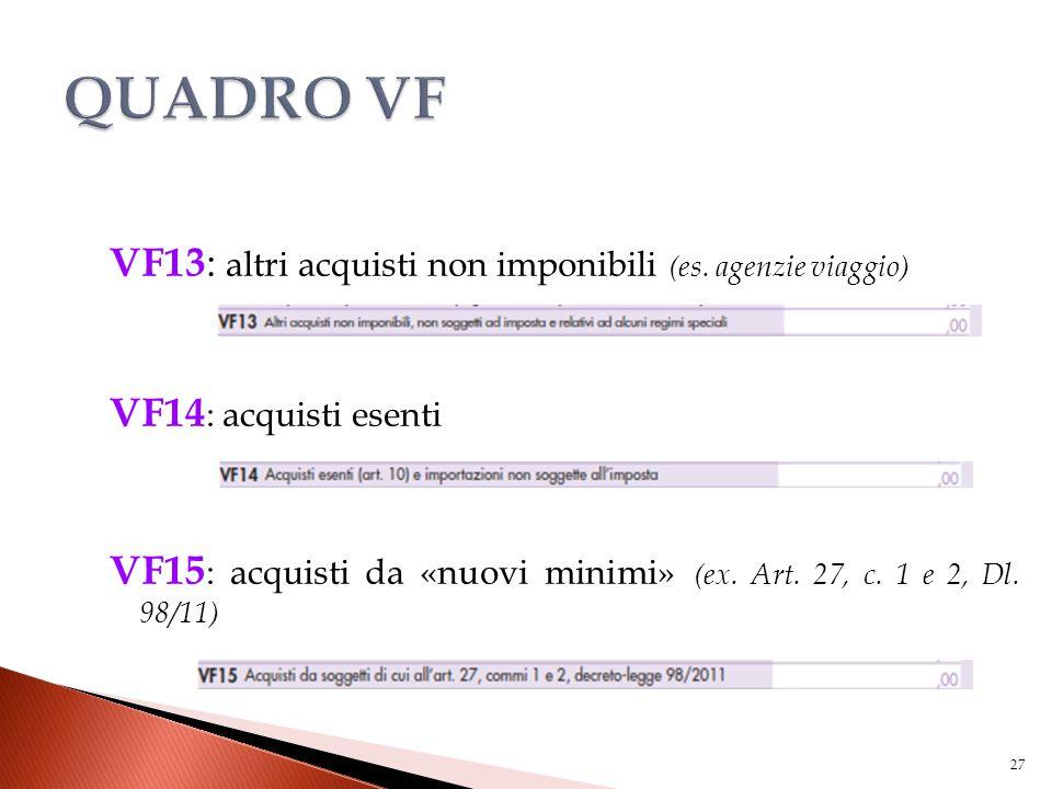 VF13 : altri acquisti non imponibili (es. agenzie viaggio) VF14 : acquisti esenti VF15 : acquisti da «nuovi minimi» (ex. Art. 27, c. 1 e 2, Dl. 98/11)