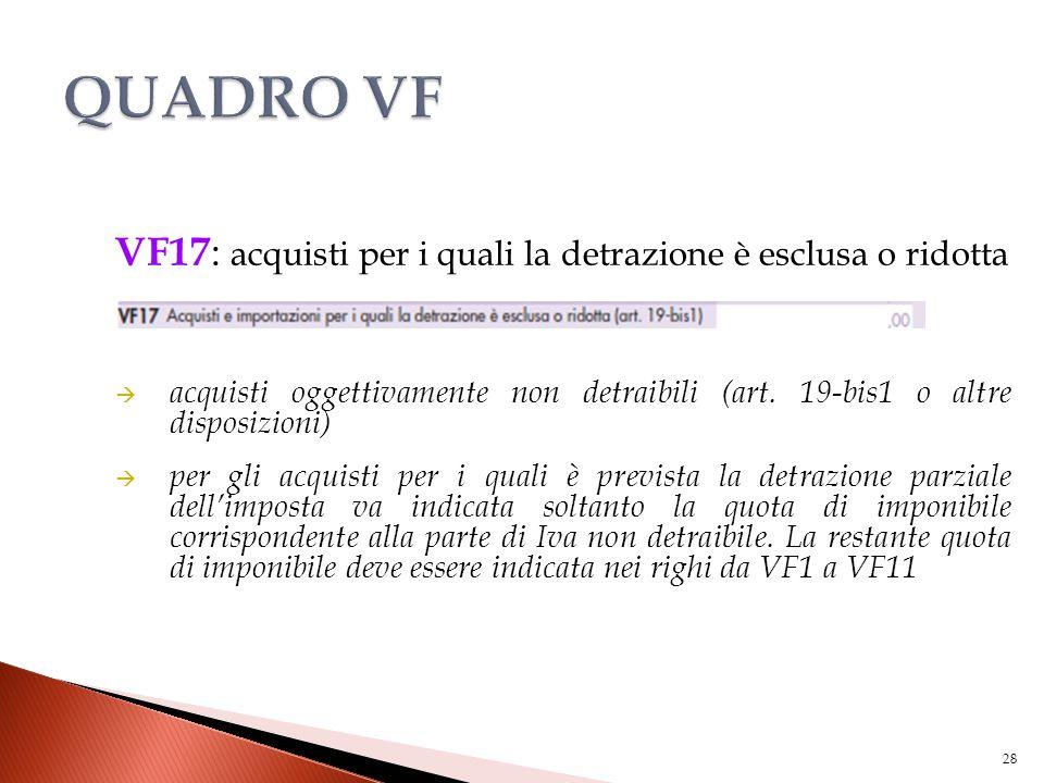 VF17 : acquisti per i quali la detrazione è esclusa o ridotta  acquisti oggettivamente non detraibili (art. 19-bis1 o altre disposizioni)  per gli a