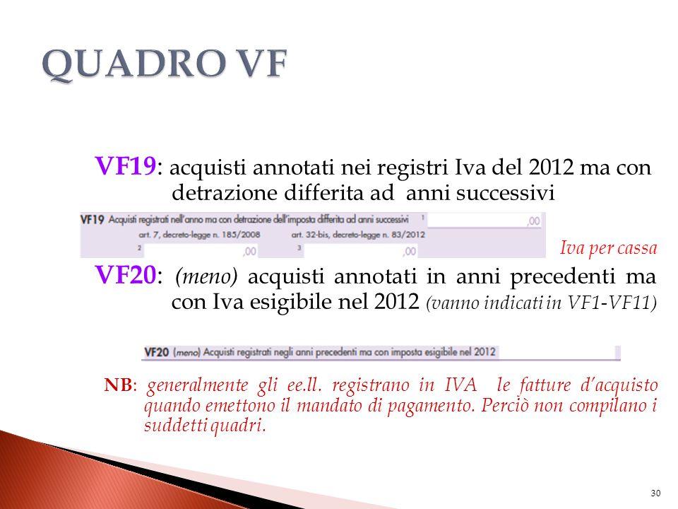 VF19 : acquisti annotati nei registri Iva del 2012 ma con detrazione differita ad anni successivi Iva per cassa VF20 : (meno) acquisti annotati in ann