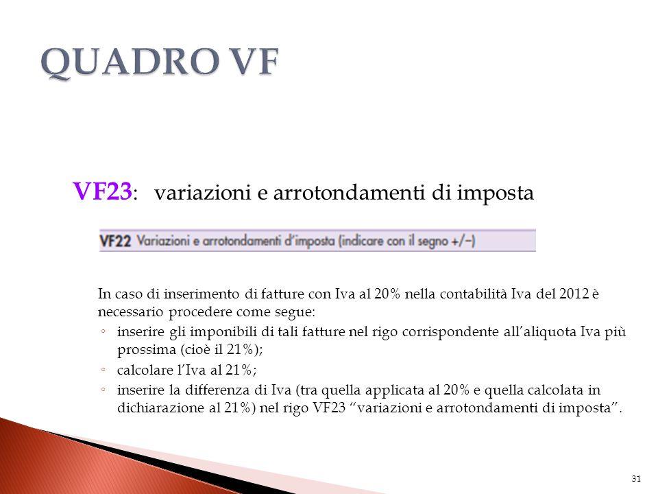 VF23 : variazioni e arrotondamenti di imposta In caso di inserimento di fatture con Iva al 20% nella contabilità Iva del 2012 è necessario procedere c