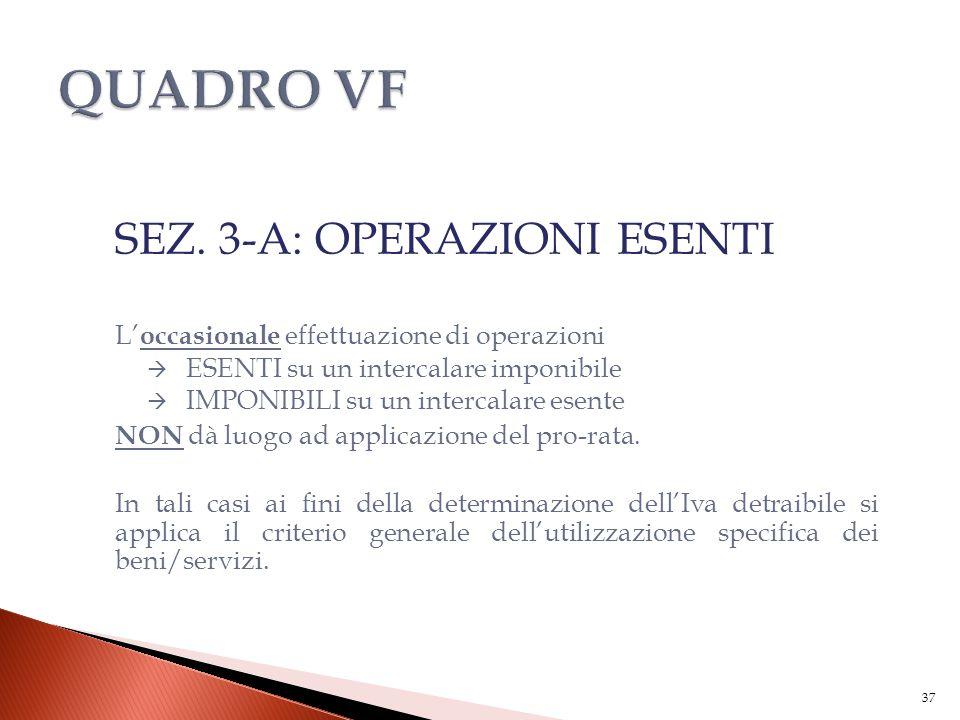 SEZ. 3-A: OPERAZIONI ESENTI L' occasionale effettuazione di operazioni  ESENTI su un intercalare imponibile  IMPONIBILI su un intercalare esente NON