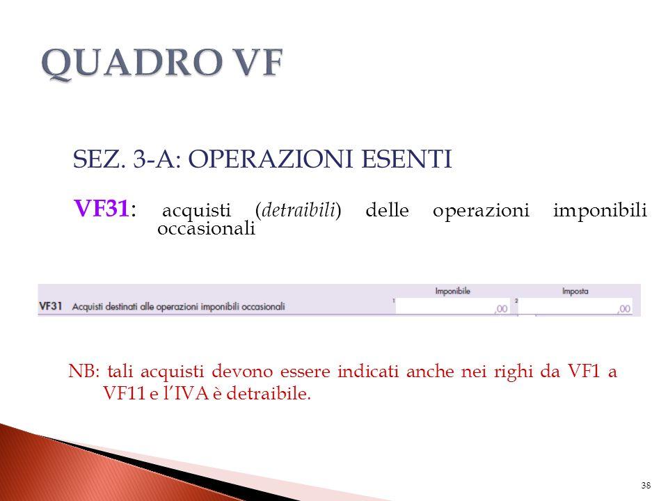 SEZ. 3-A: OPERAZIONI ESENTI VF31 : acquisti ( detraibili ) delle operazioni imponibili occasionali 38 NB: tali acquisti devono essere indicati anche n